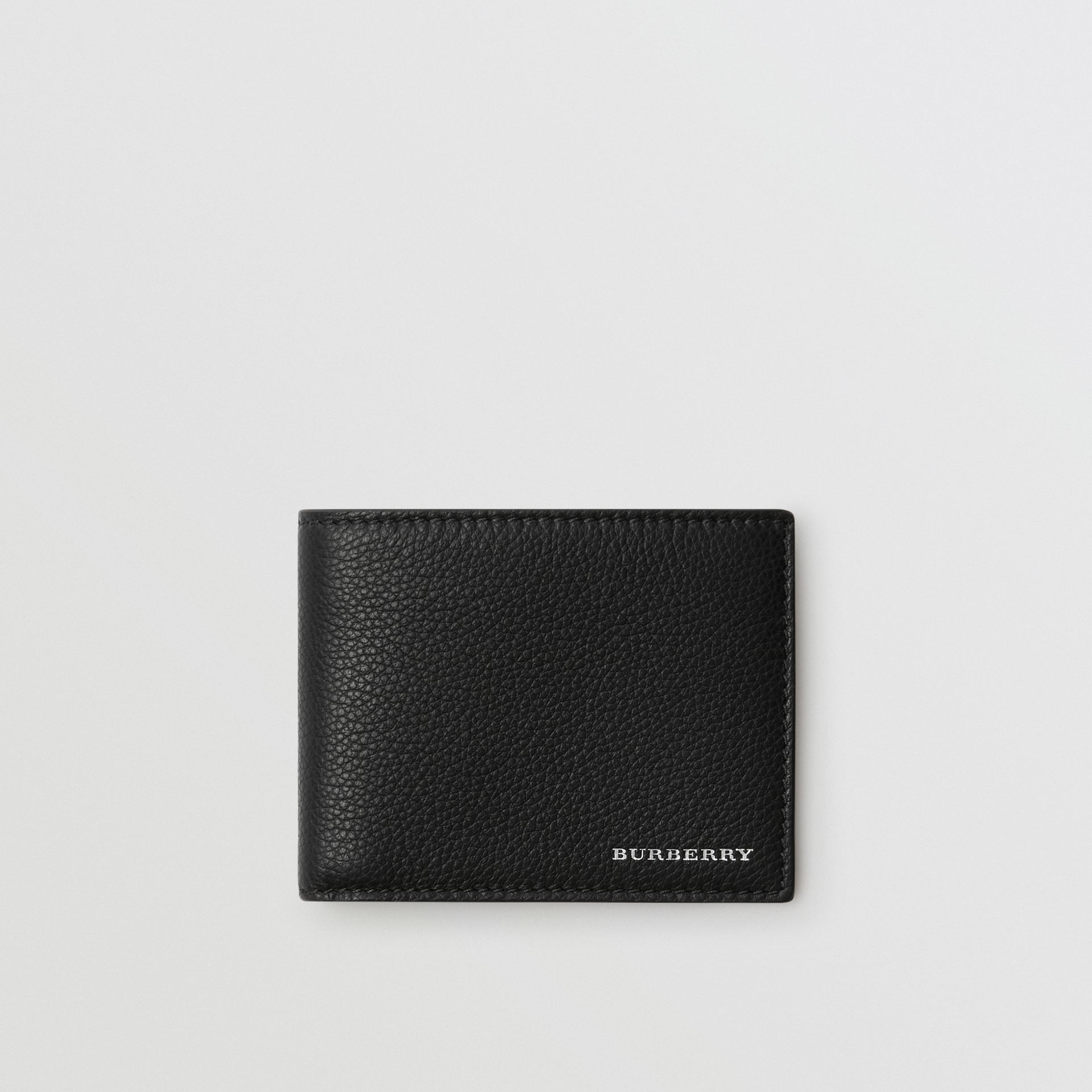 Grainy Leather Bifold Wallet in Black - Men | Burberry Australia - gallery image 0