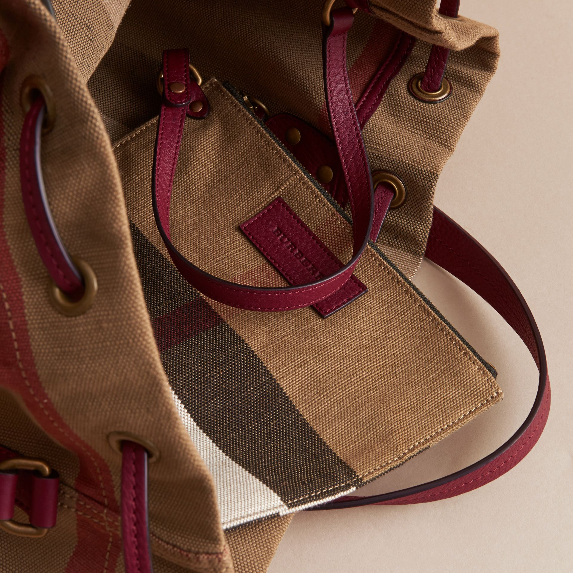 Medium Canvas Check and Leather Bucket Bag in Burgundy Red - Women | Burberry - gallery image 6