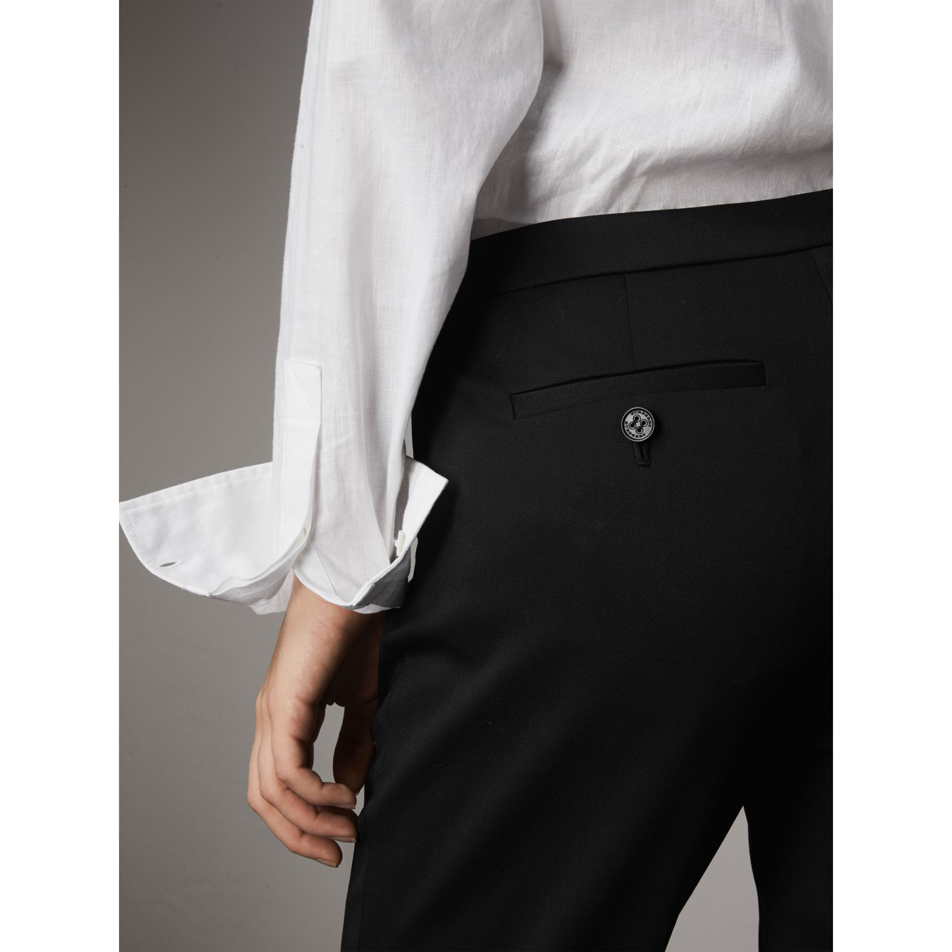 Slim-fit Stretch Wool Trousers in Black - Women | Burberry - gallery image 1
