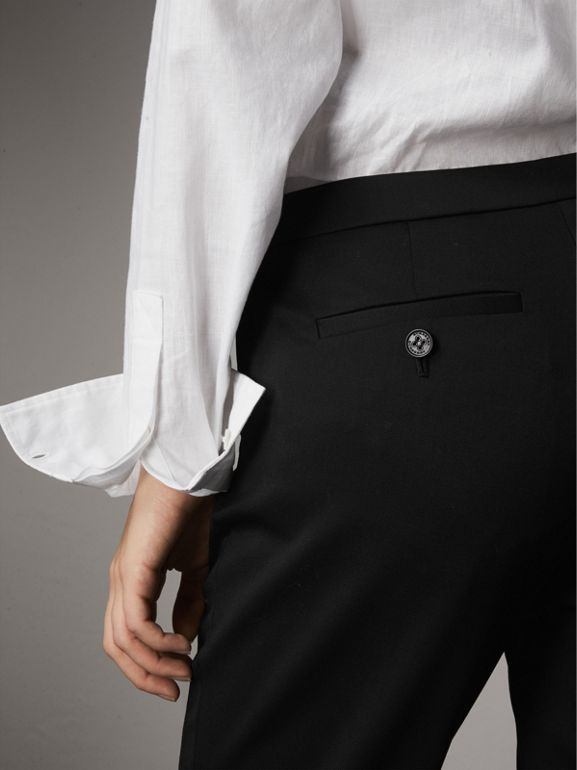 Slim-fit Stretch Wool Trousers in Black - Women | Burberry - cell image 1