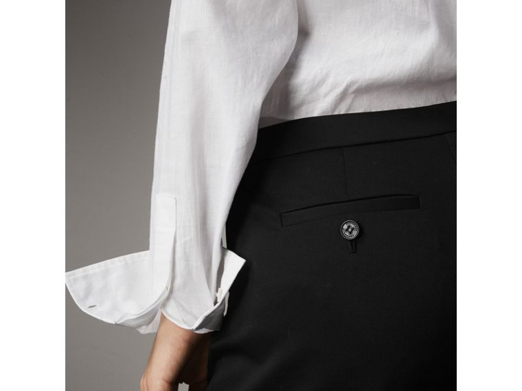 Slim-fit Stretch Wool Trousers in Black - Women | Burberry United States - cell image 1