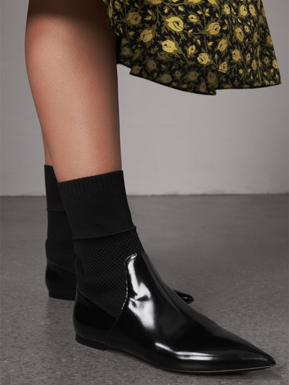 Patent Leather and Knitted Mesh Ankle Boots in Black - Women | Burberry - cell image 2