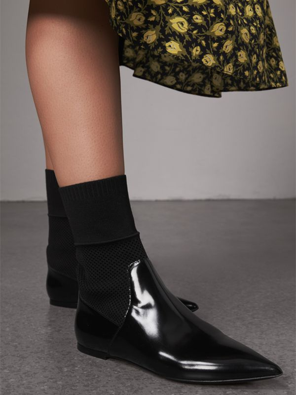 Patent Leather and Knitted Mesh Ankle Boots in Black - Women | Burberry United States - cell image 2