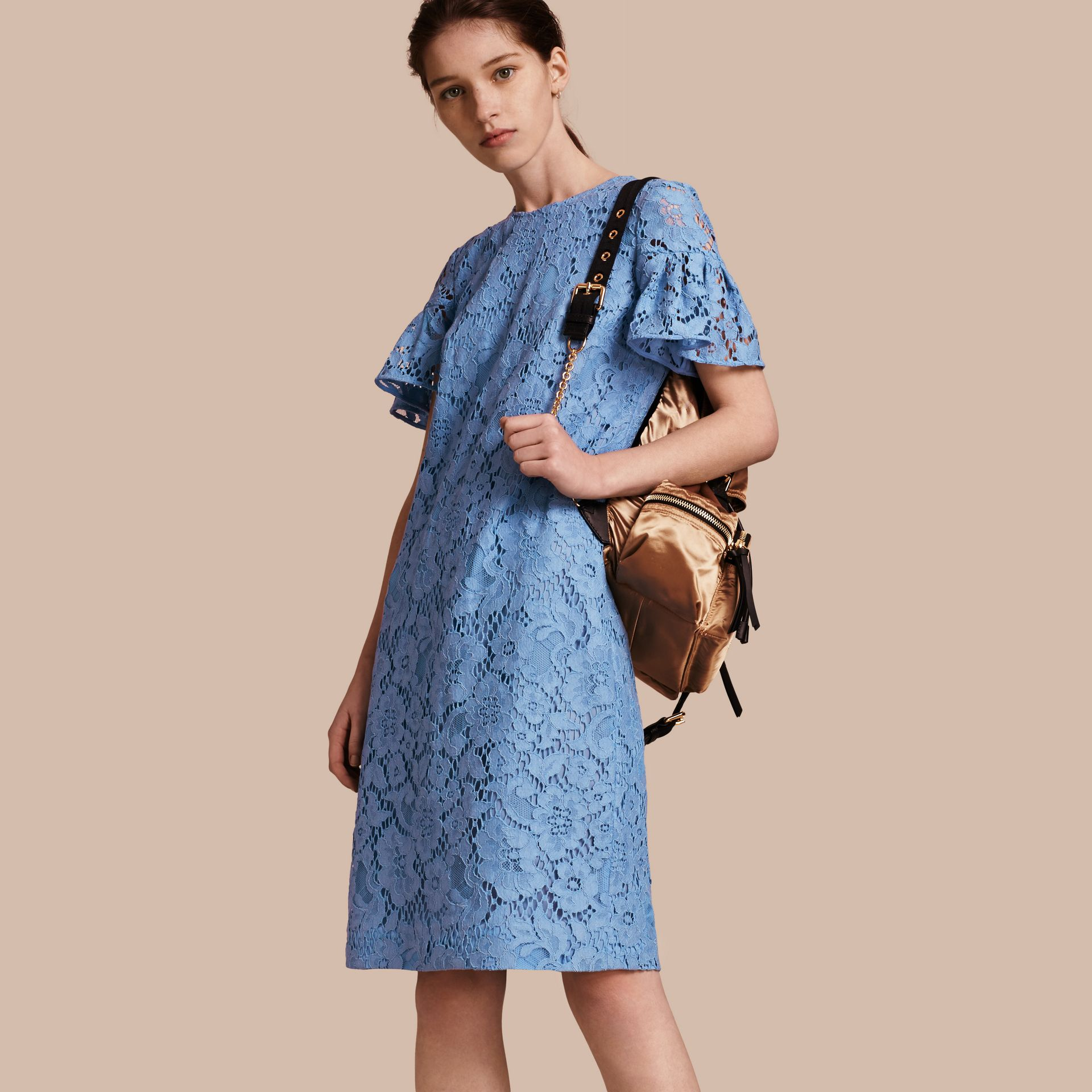 Macramé Lace Shift Dress with Ruffle Sleeves Cornflower - gallery image 1