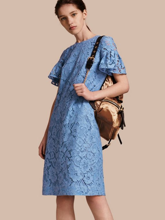 Macramé Lace Shift Dress with Ruffle Sleeves in Cornflower