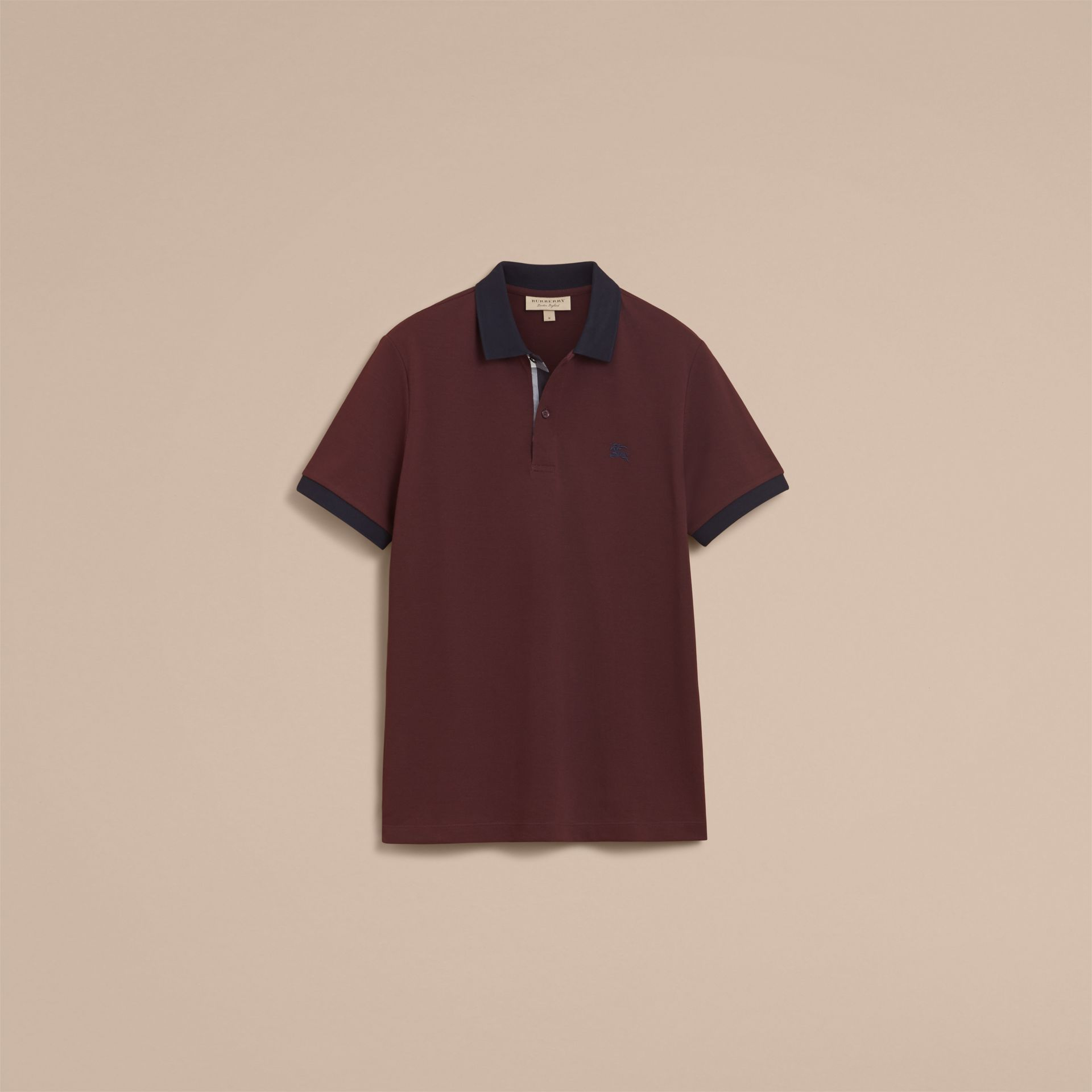 Two-tone Check Placket Cotton Piqué Polo Shirt in Deep Claret - gallery image 4