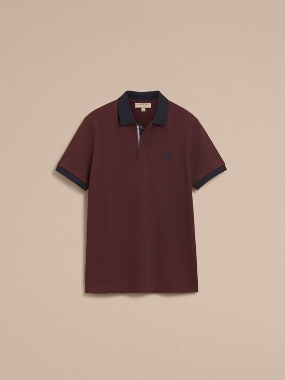 Two-tone Check Placket Cotton Piqué Polo Shirt in Deep Claret - cell image 3