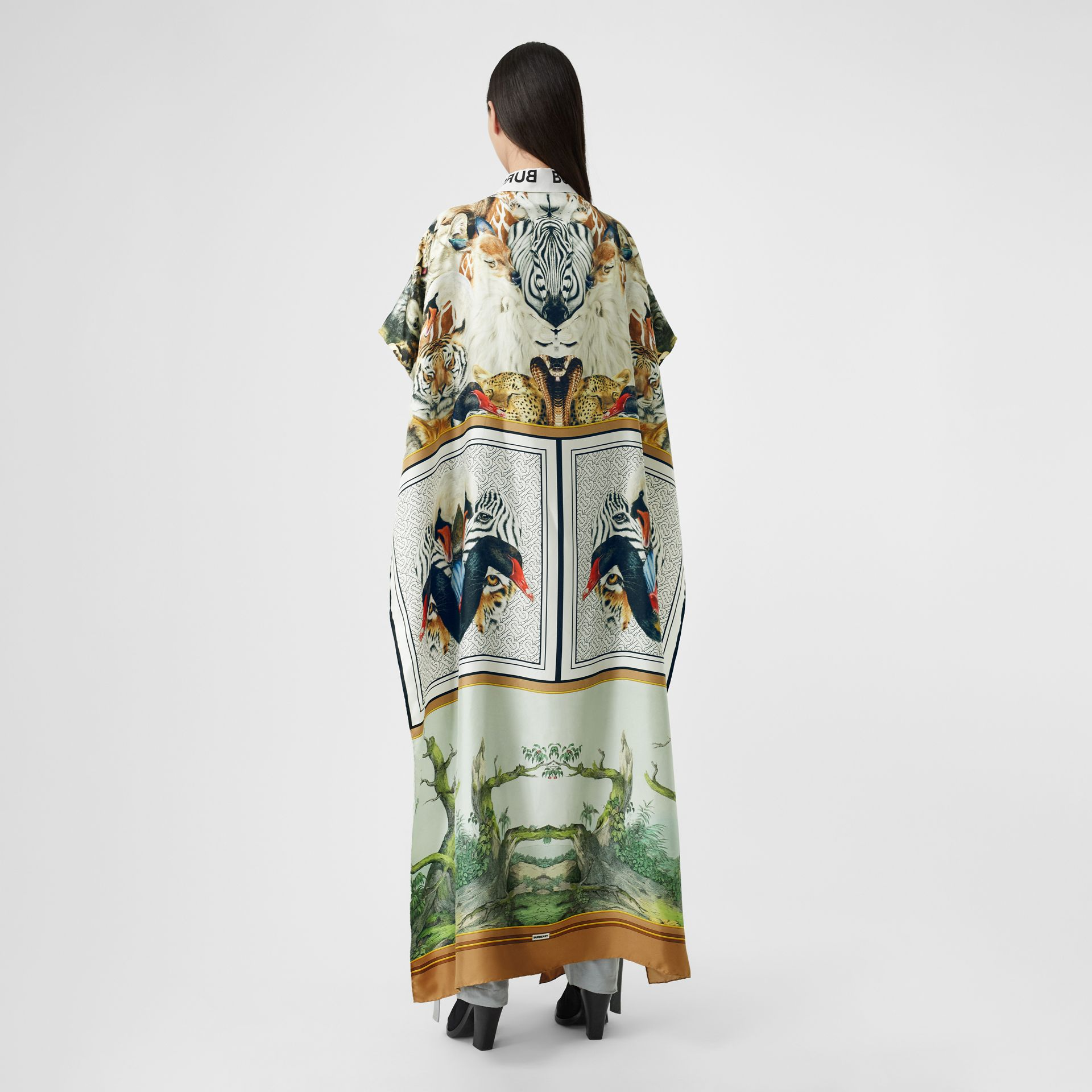 Montage Print Silk Twill Cape in Multicolour - Women | Burberry United Kingdom - gallery image 2