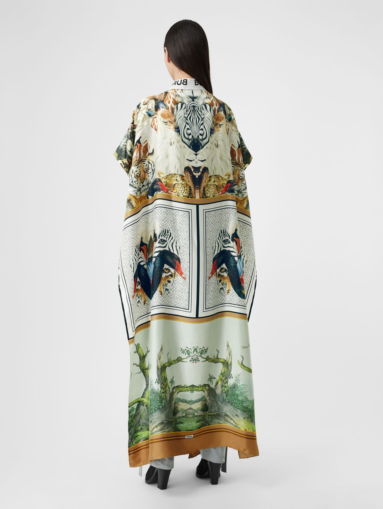 Montage Print Silk Twill Cape (Multicolour)