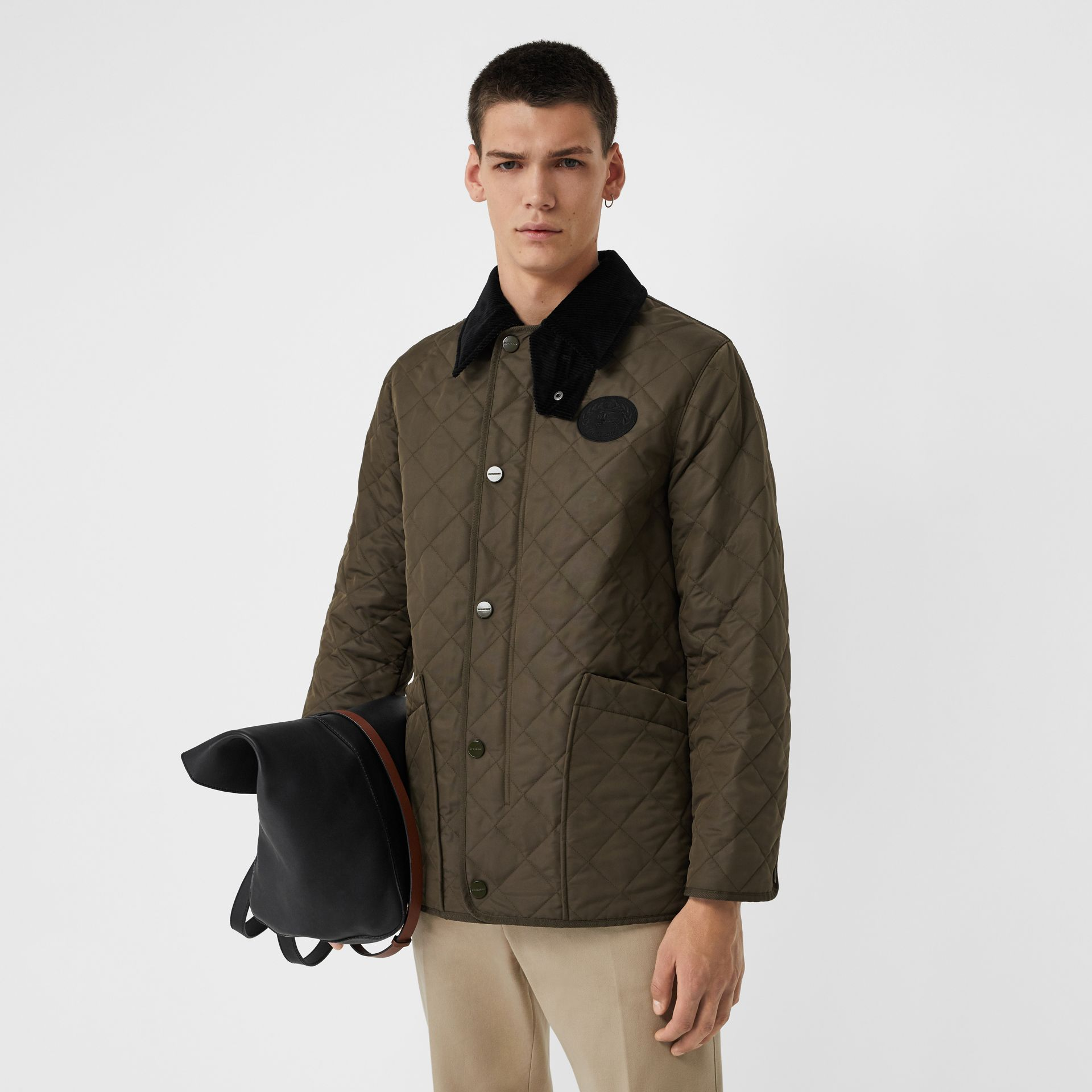 Diamond Quilted Thermoregulated Barn Jacket in Dark Olive - Men | Burberry - gallery image 6