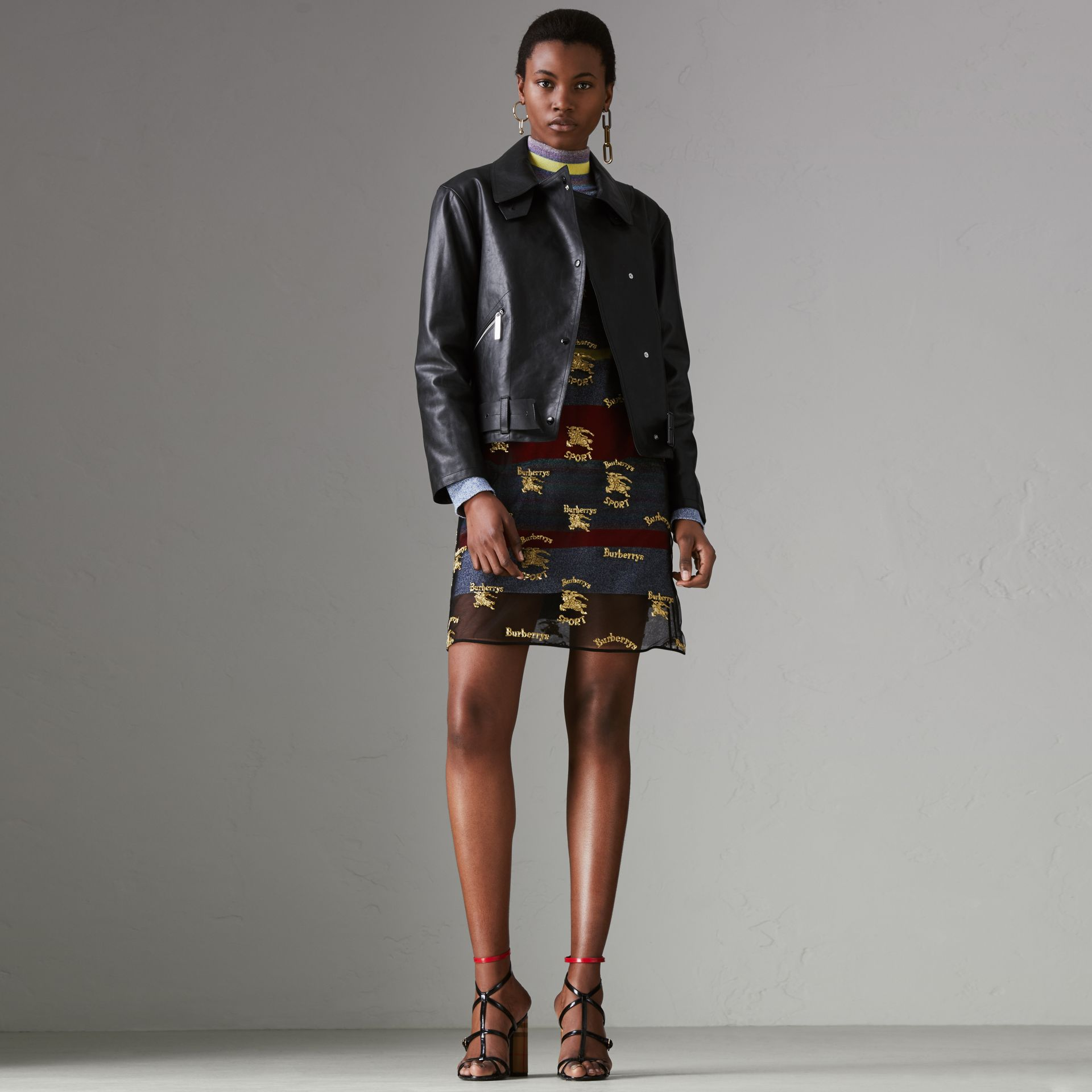 Tartan-lined Leather Biker Jacket in Black - Women | Burberry Singapore - gallery image 0