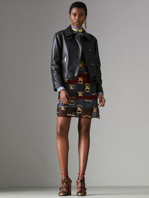 Tartan-lined Leather Biker Jacket in Black