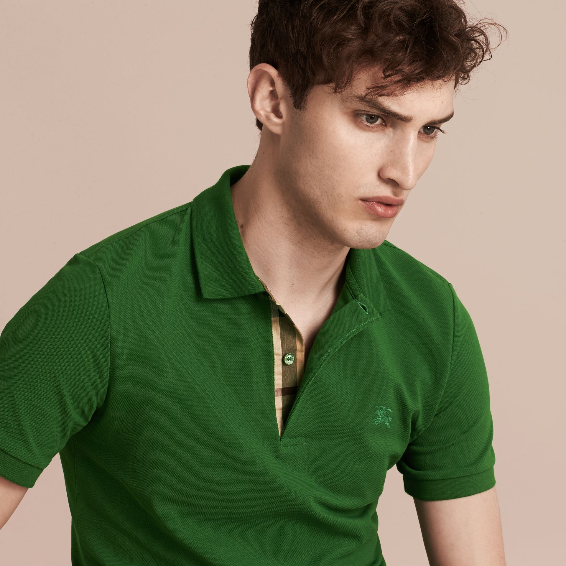 Check Placket Cotton Piqué Polo Shirt in Bright Fern Green - Men | Burberry - gallery image 5