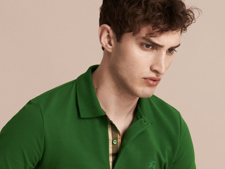 Check Placket Cotton Piqué Polo Shirt in Bright Fern Green - Men | Burberry United Kingdom - cell image 4