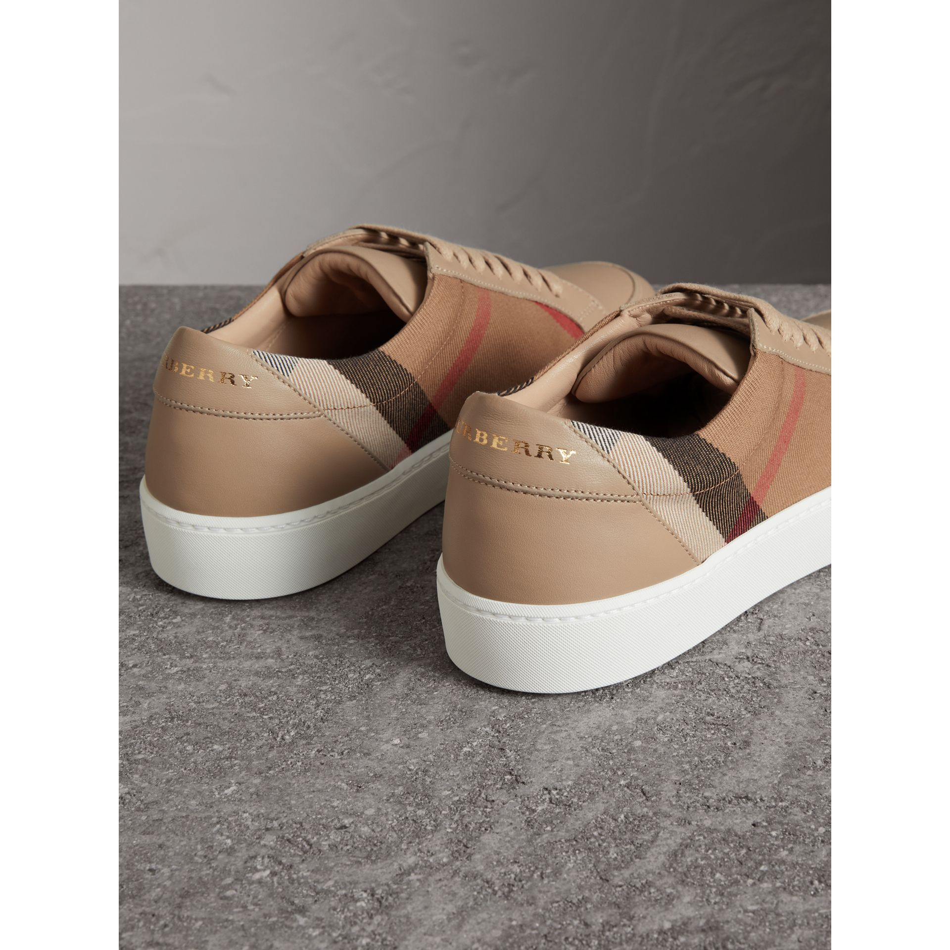 Check Detail Leather Sneakers in House Check/ Nude - Women | Burberry - gallery image 3