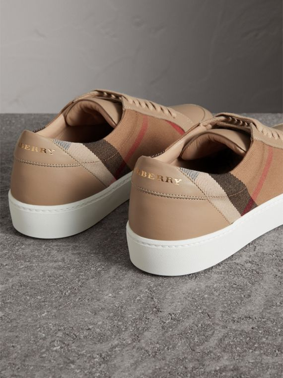 Check Detail Leather Sneakers in House Check/ Nude - Women | Burberry - cell image 2