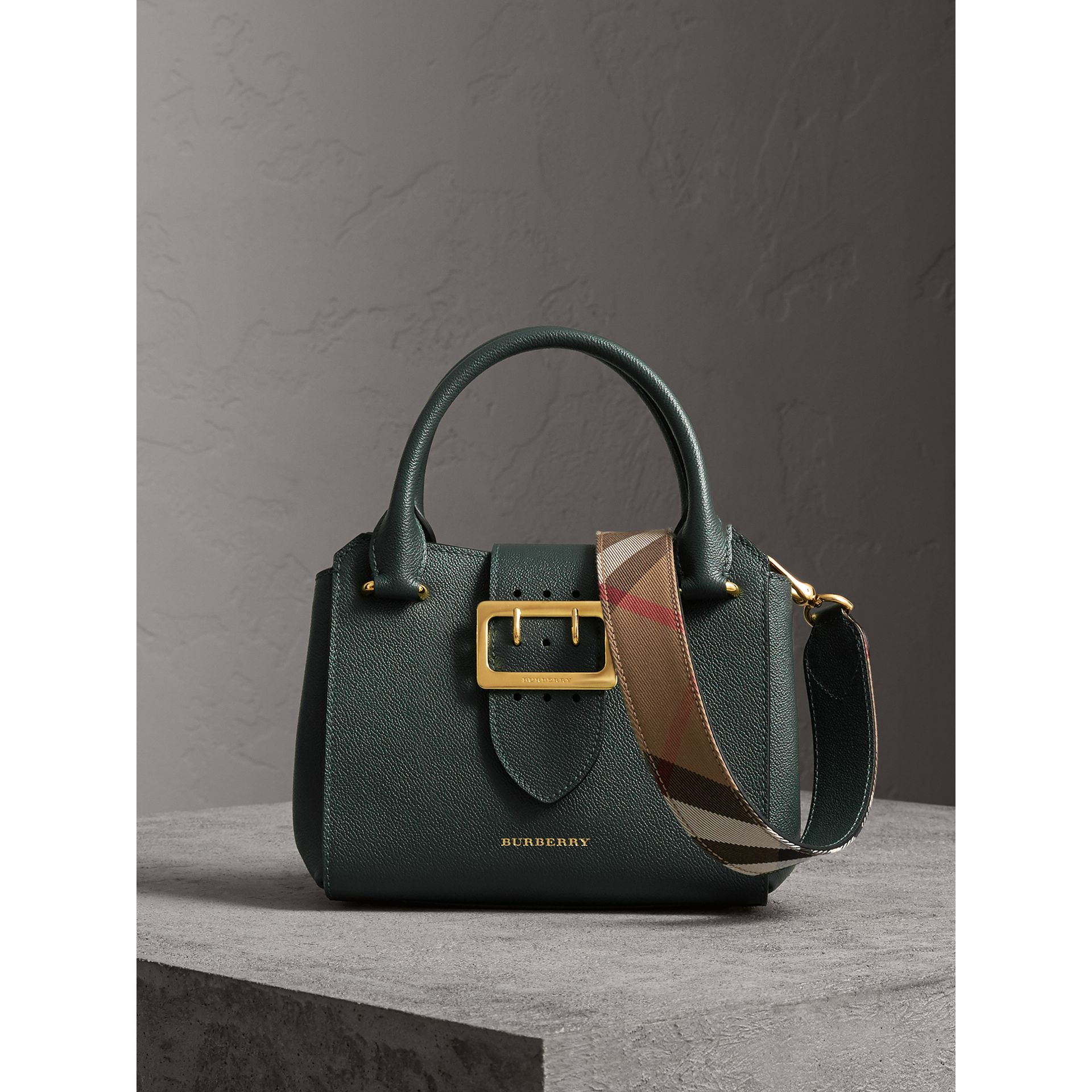 The Small Buckle Tote in Grainy Leather in Sea Green - Women | Burberry United Kingdom - gallery image 0