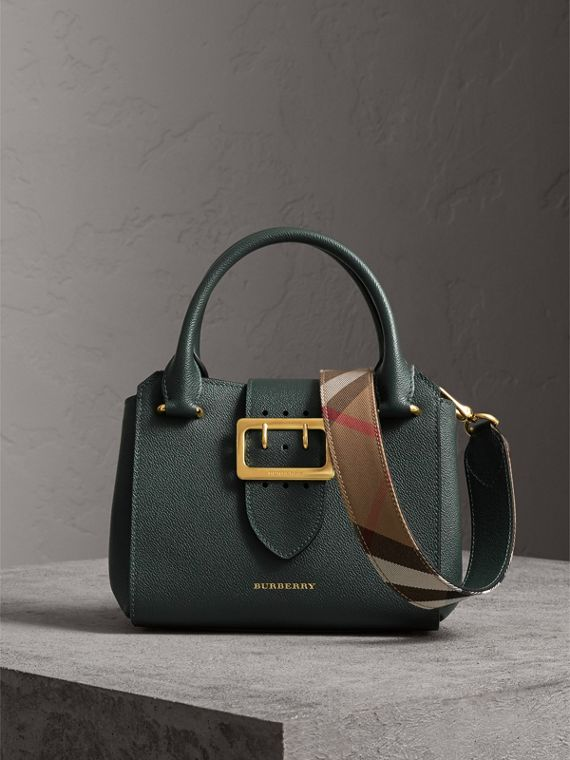 The Small Buckle Tote in Grainy Leather in Sea Green
