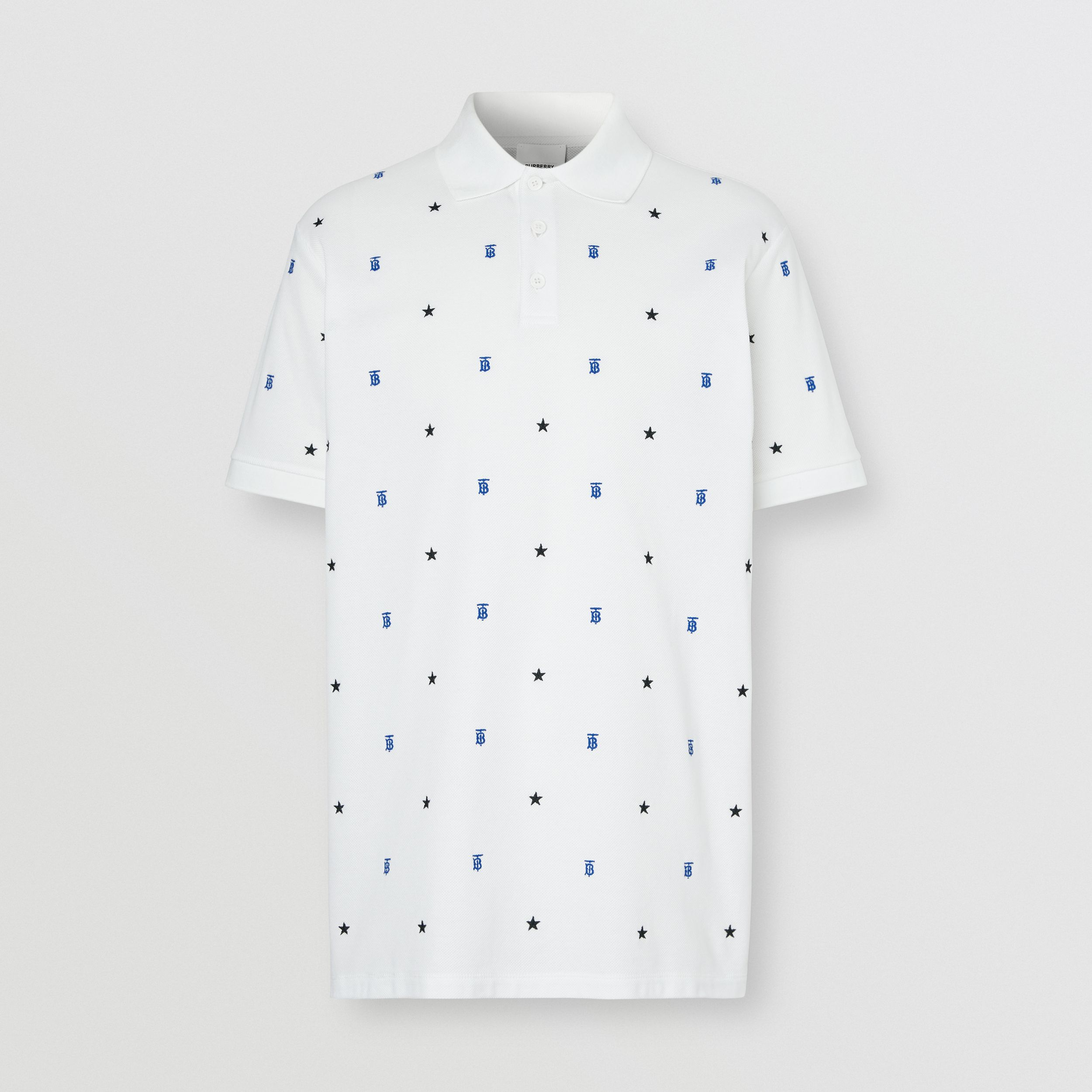 Star and Monogram Motif Cotton Piqué Polo Shirt in White - Men | Burberry - 4
