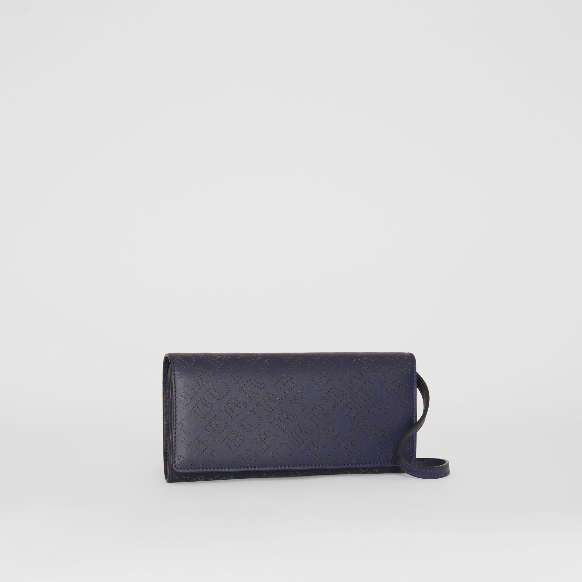 Perforated Logo Leather Wallet with Detachable Strap in Navy - Women | Burberry Australia - gallery image 6