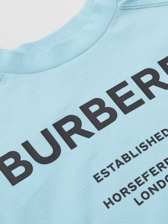 Long-sleeve Horseferry Print Cotton Top in Powder Blue | Burberry - cell image 1