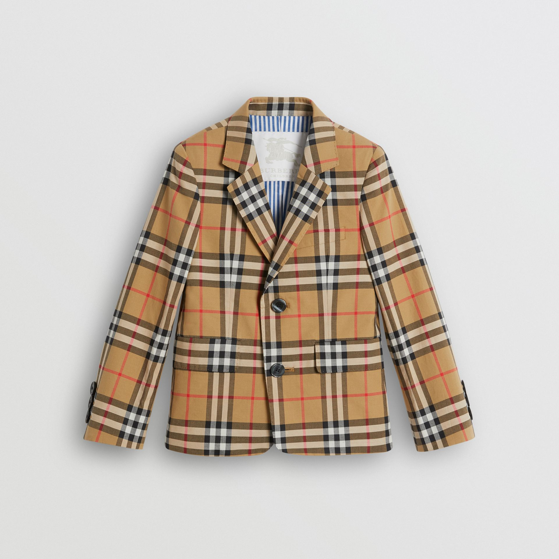 Vintage Check Cotton Blazer in Antique Yellow | Burberry - gallery image 0