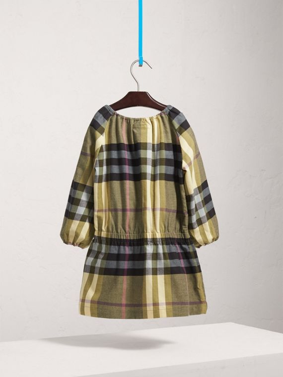 Gathered Check Cotton Flannel Dress in Pale Powder Green - Girl | Burberry - cell image 3