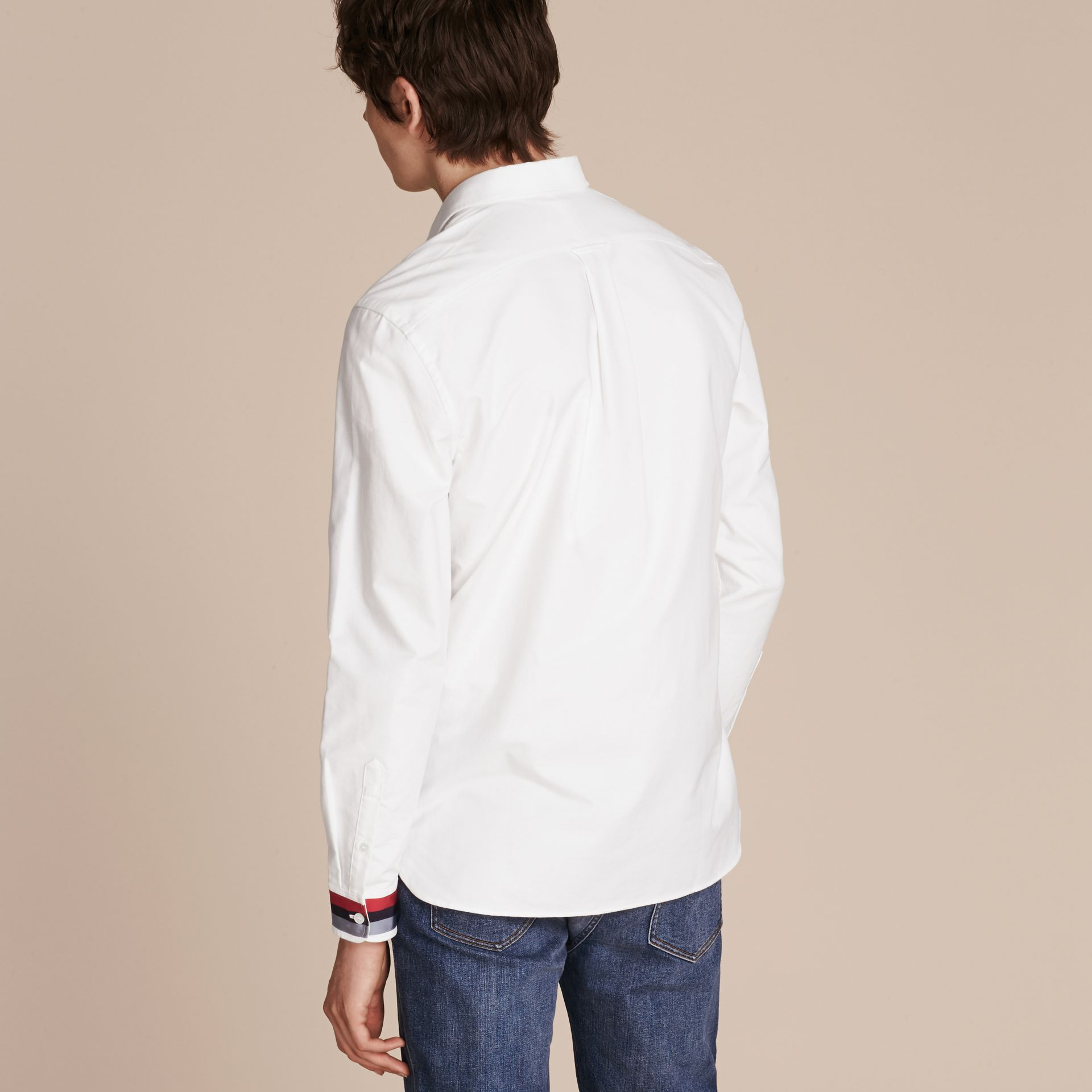 White Oxford Cotton Shirt with Regimental Cuff Detail White - gallery image 3