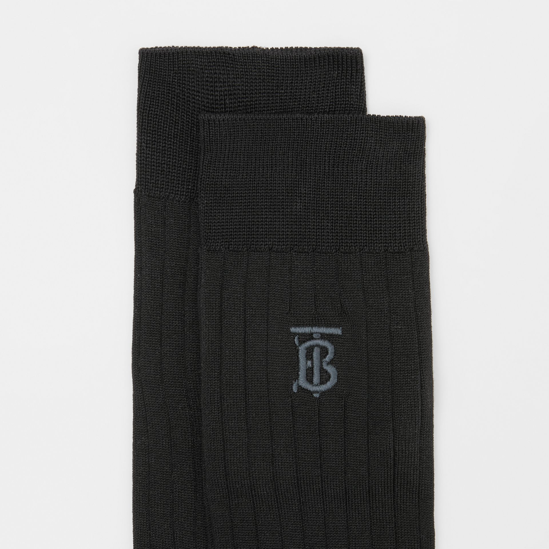 Monogram Motif Cotton Blend Socks in Black | Burberry - gallery image 1