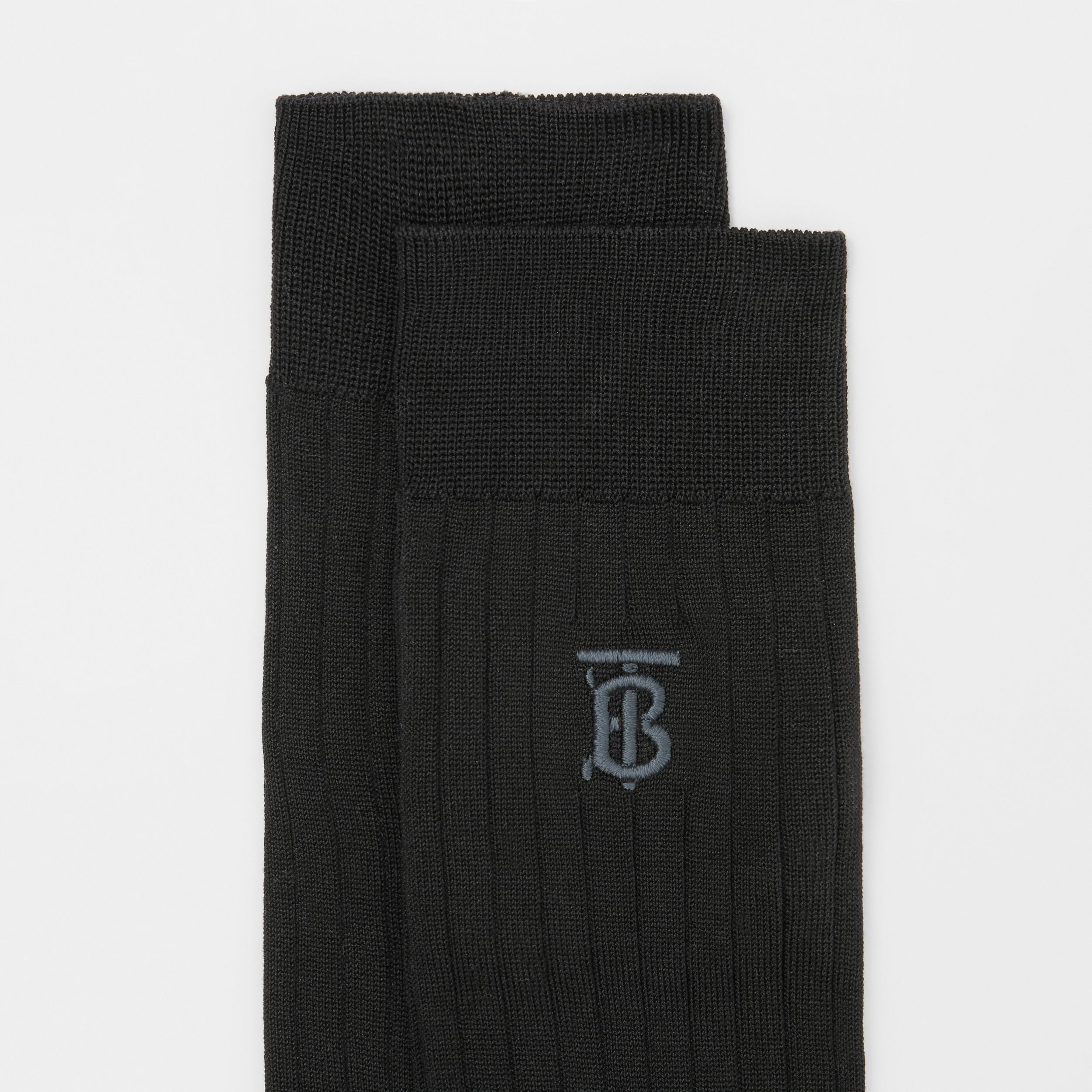 Monogram Motif Cotton Blend Socks in Black | Burberry - 2