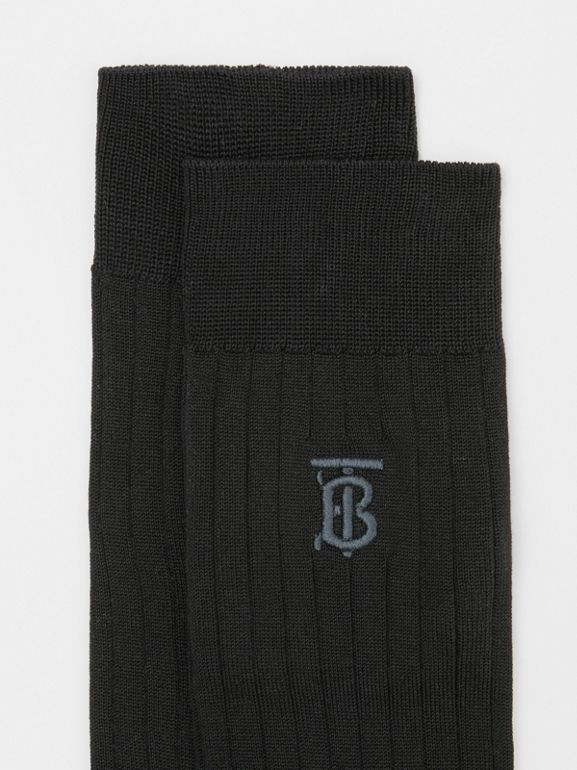 Monogram Motif Cotton Blend Socks in Black | Burberry - cell image 1