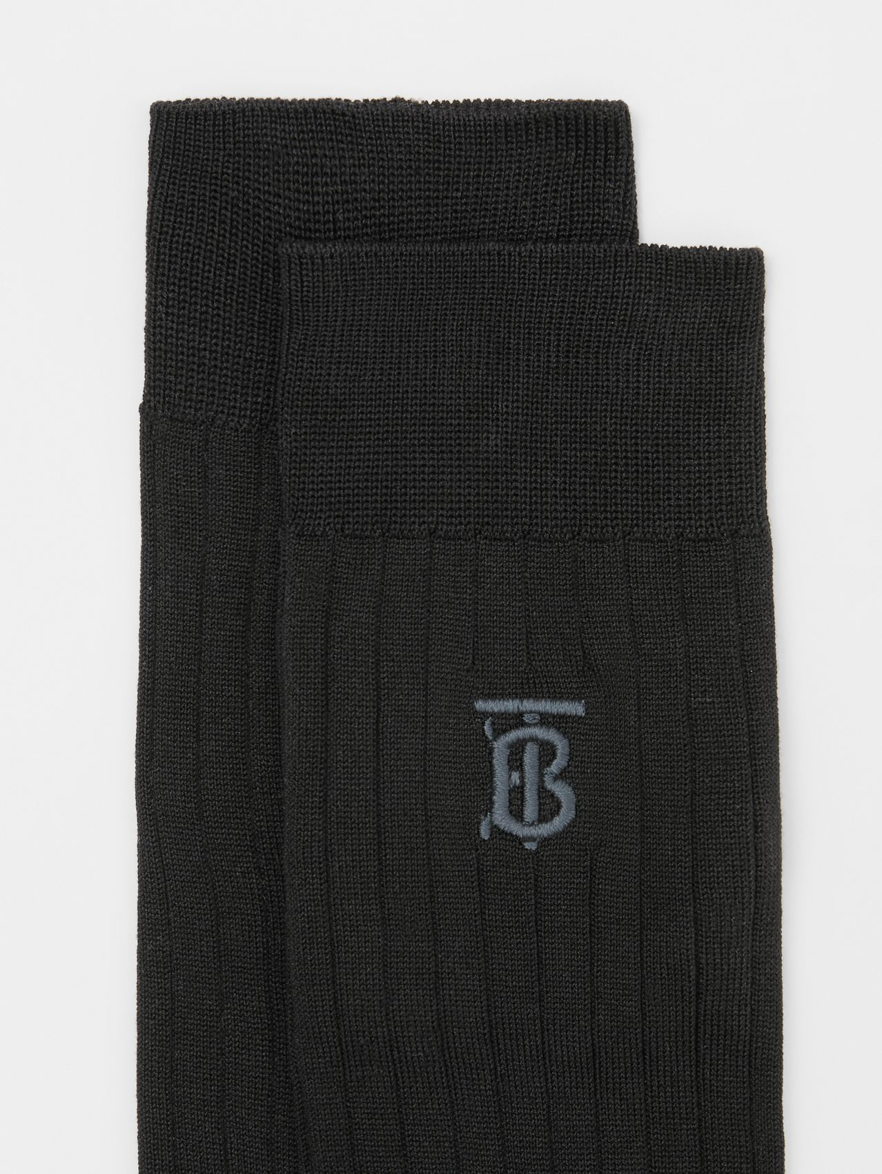 Monogram Motif Cotton Blend Socks in Black