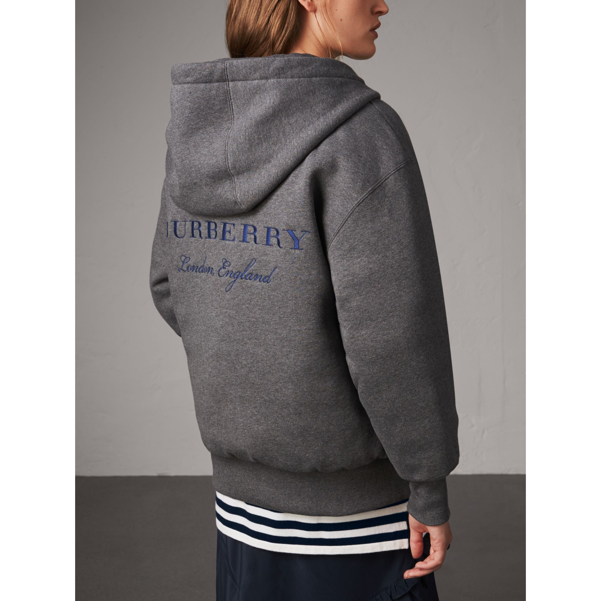Reversible Down-filled Hooded Bomber Jacket in Bright Navy - Women | Burberry - gallery image 5
