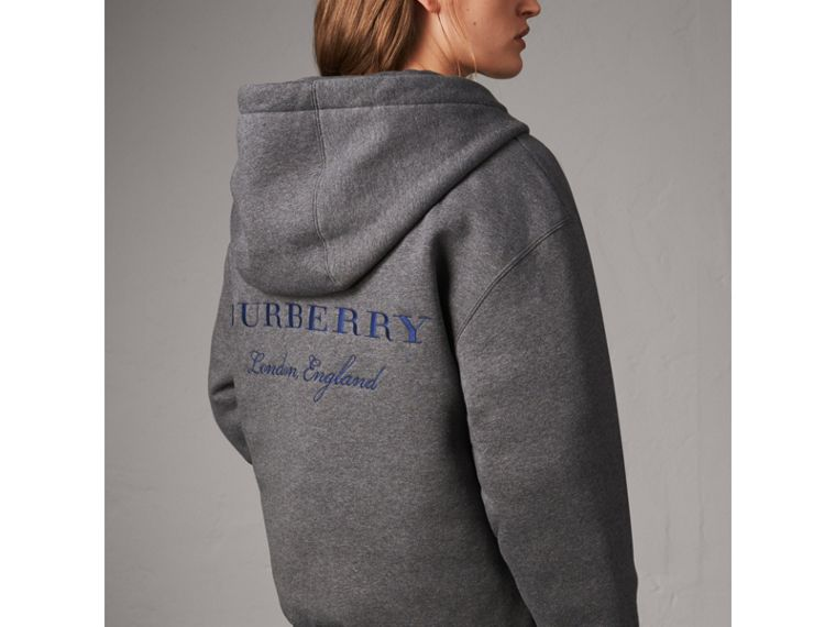 Reversible Down-filled Hooded Bomber Jacket in Bright Navy - Women | Burberry - cell image 4
