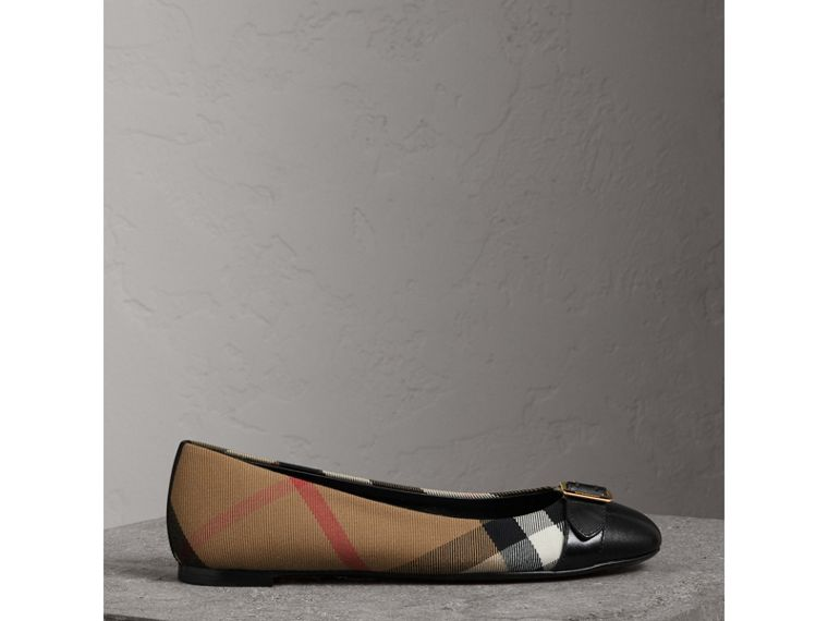 Buckle Detail House Check and Leather Ballerinas in Black - Women | Burberry - cell image 4