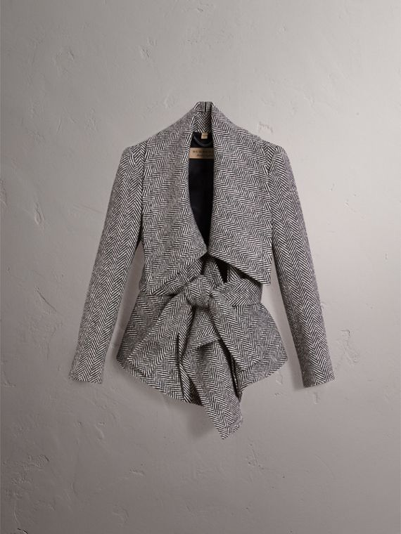 Herringbone Wool Cashmere Wrap Jacket - Women | Burberry - cell image 3