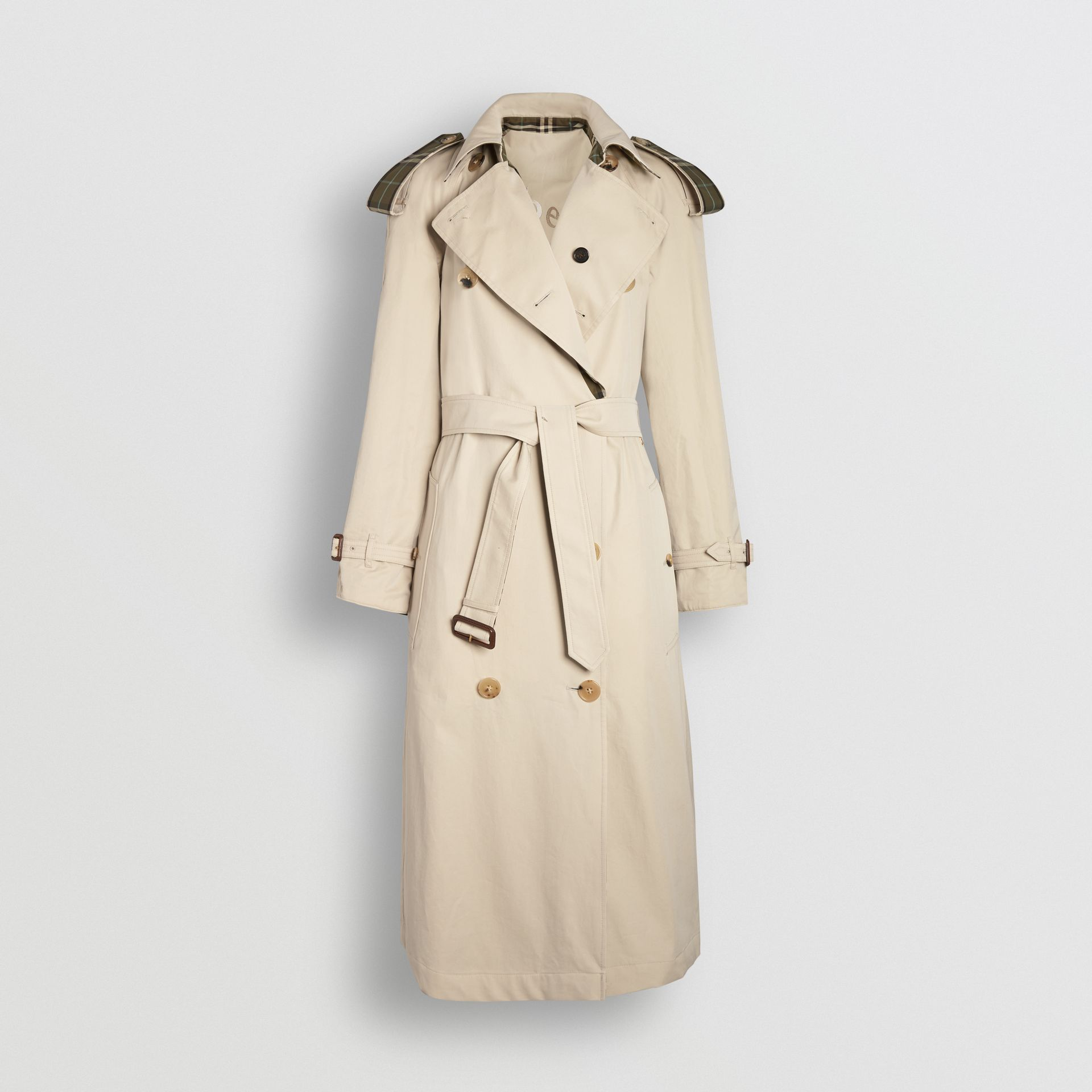 Reversible Tropical Gabardine and Check Trench Coat in Olive Green - Women | Burberry - gallery image 6