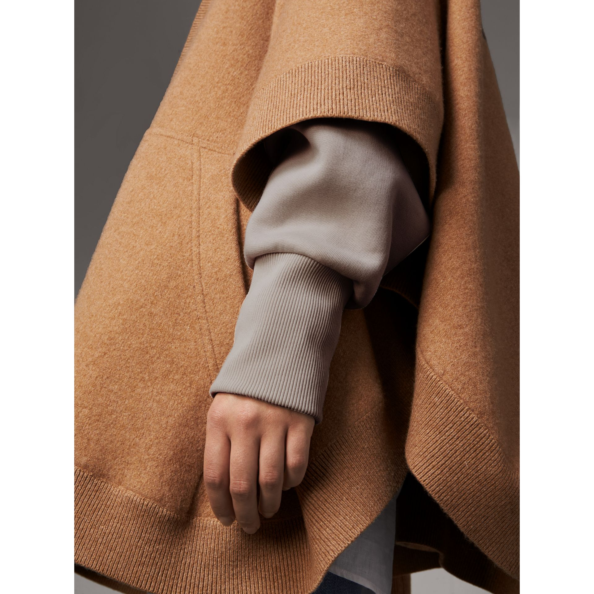 Wool Cashmere Blend Hooded Poncho in Camel - Women | Burberry Singapore - gallery image 2