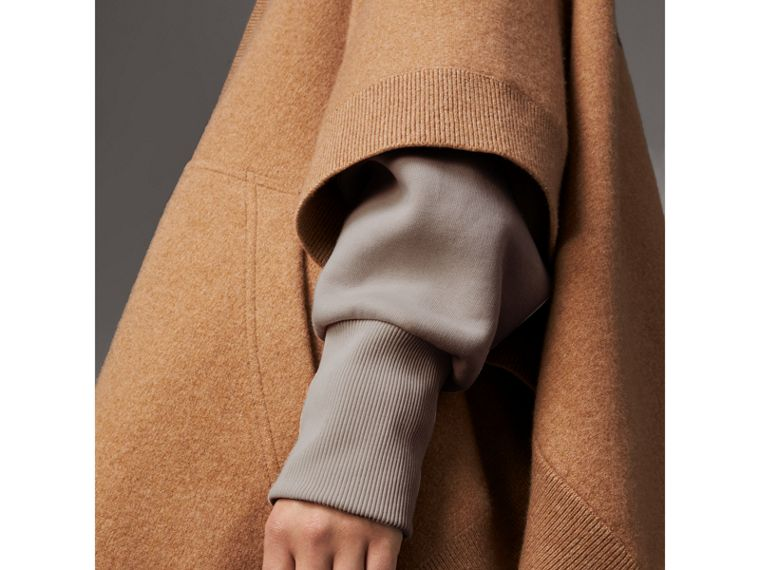 Wool Cashmere Blend Hooded Poncho in Camel - Women | Burberry United Kingdom - cell image 1