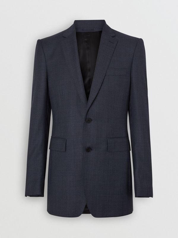 Classic Fit Check Wool Three-piece Suit in Steel Blue - Men | Burberry - cell image 3