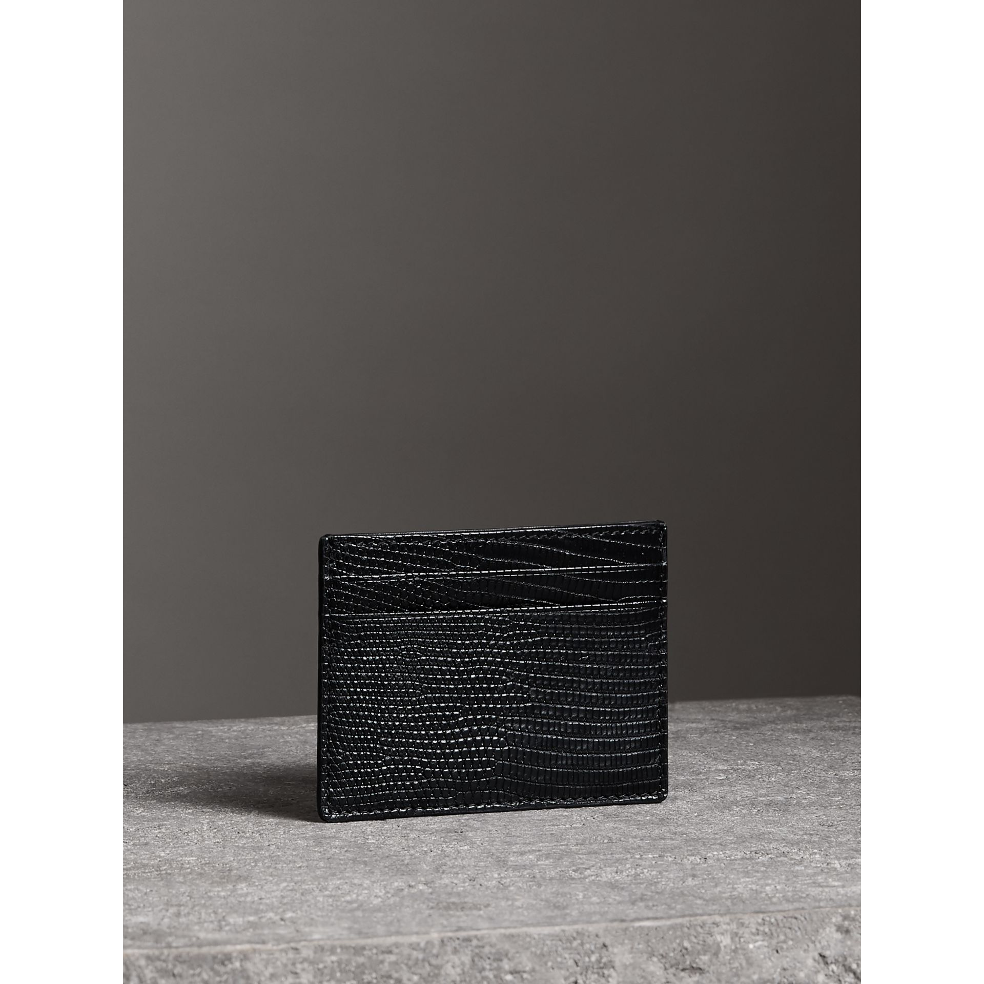 Lizard Card Case in Black | Burberry - gallery image 4