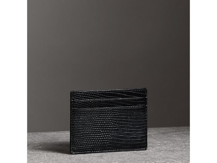 Lizard Card Case in Black | Burberry - cell image 4