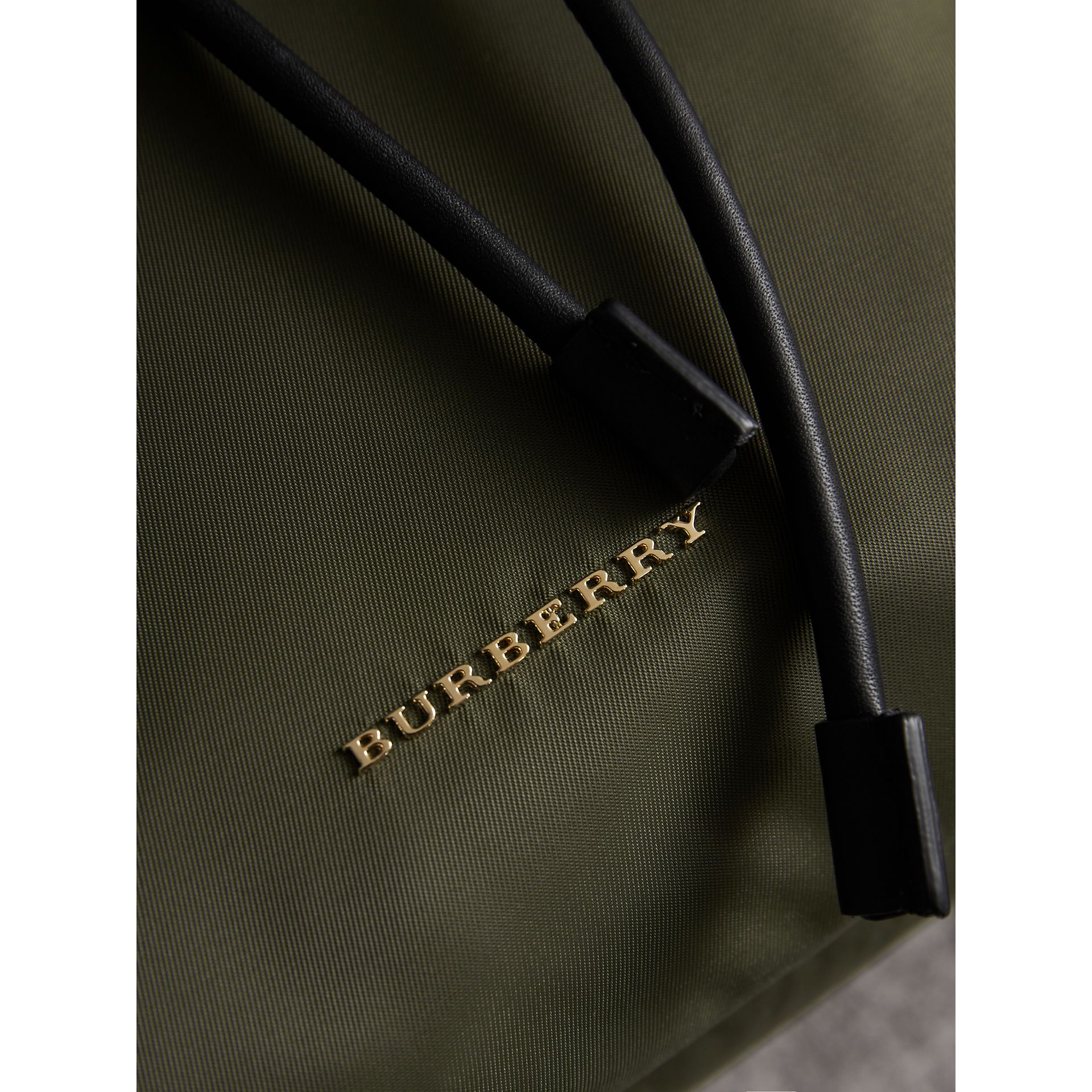 The Medium Rucksack in Technical Nylon and Leather in Canvas Green - Women | Burberry United Kingdom - gallery image 6