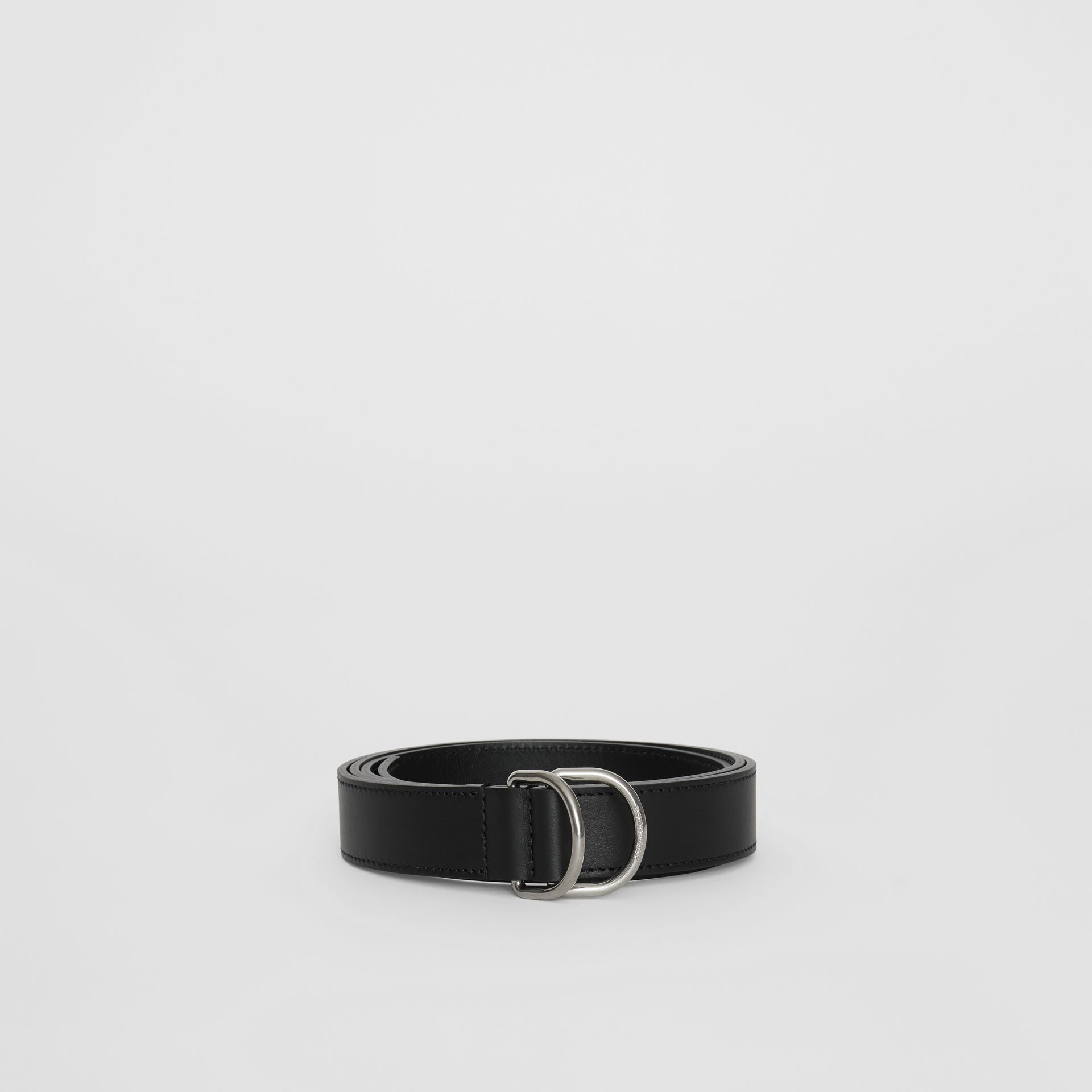 Leather Double D-ring Belt in Black - Men | Burberry - gallery image 2