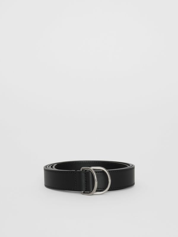Leather Double D-ring Belt in Black - Men | Burberry United Kingdom - cell image 2