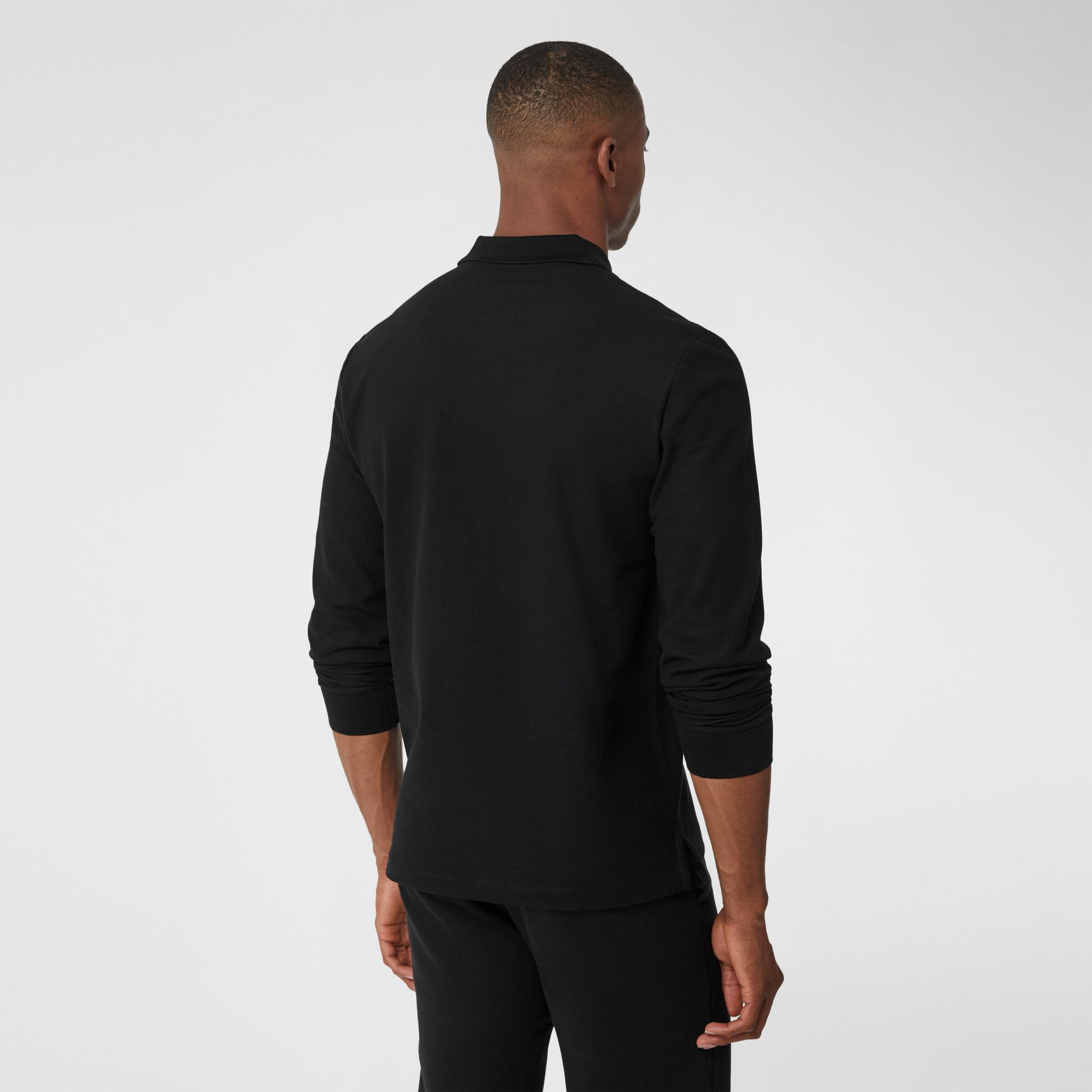 Long-sleeve Contrast Logo Graphic Cotton Polo Shirt in Black - Men   Burberry - gallery image 2