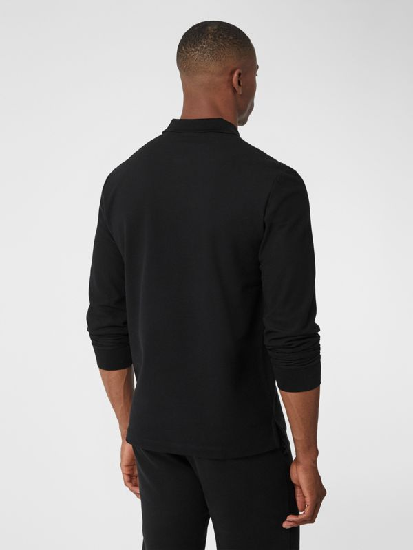 Long-sleeve Contrast Logo Graphic Cotton Polo Shirt in Black - Men   Burberry - cell image 2