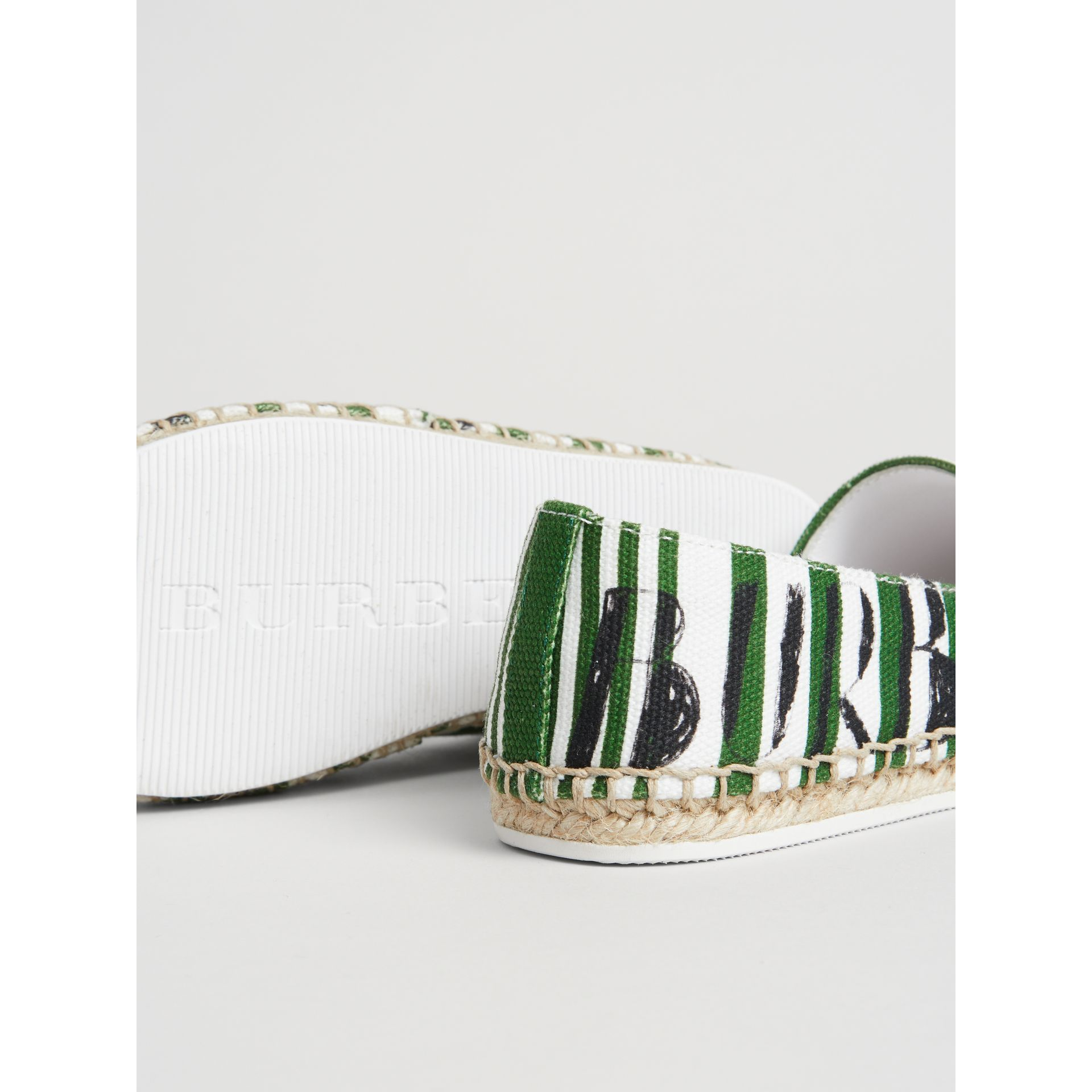 SW1 Print Striped Cotton Espadrilles in Bright Fern Green | Burberry - gallery image 1