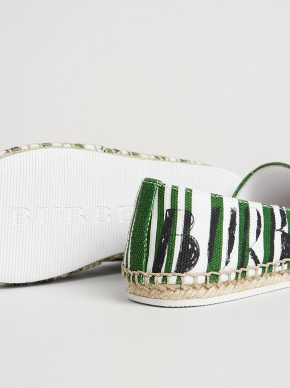 SW1 Print Striped Cotton Espadrilles in Bright Fern Green | Burberry - cell image 1