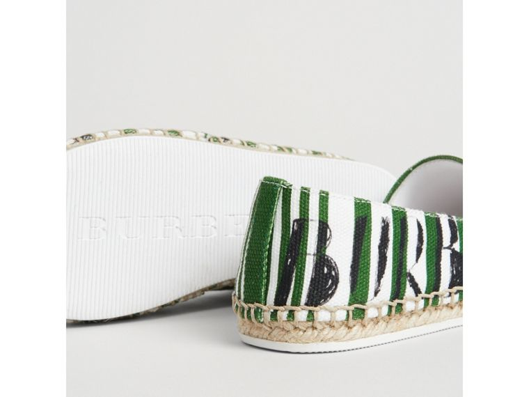 SW1 Print Striped Cotton Espadrilles in Bright Fern Green | Burberry United Kingdom - cell image 1